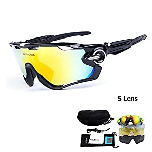 GIEADUN Polarized Sports Sunglasses UV400 Protection Cycling Glasses With 5 Interchangeable Lenses for Cycling, Baseball,Fishing, Ski Running,Golf