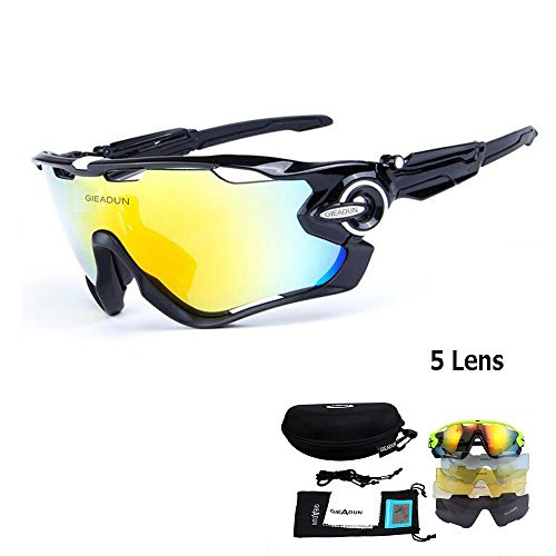 Polarized Sports Sunglasses UV400 Protection Cycling Glasses With 5 Interchangeable Lenses for Cycling, Baseball ,Fishing, Ski Running - Sunglass Bike