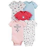 Carter's Baby Girls 5 Pack Bodysuit Set, Animals, 3 Months