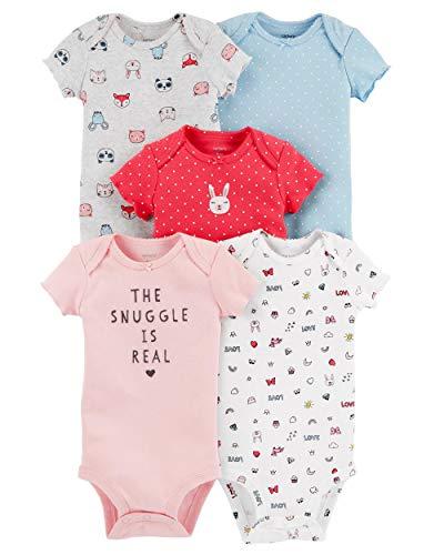 Carter's Baby Girls 5 Pack Bodysuit Set, Animals, 3 Months -