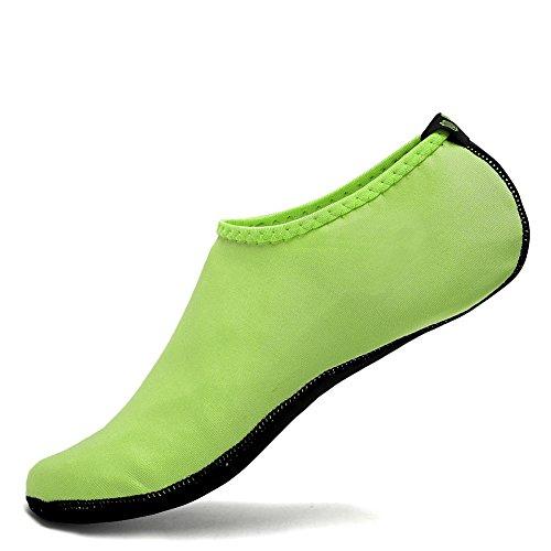 CIOR 3. Verbesserte Version Durable Sohle Barfuß Wasser Haut Schuhe Aqua Socken für Beach Pool Sand Schwimmen Surf Yoga Wassergymnastik 03neon Grün