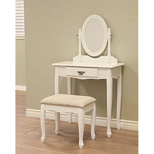 bedroom vanity sets white. Frenchi Home Furnishing 3-Piece Vanity Set, White Bedroom Sets W
