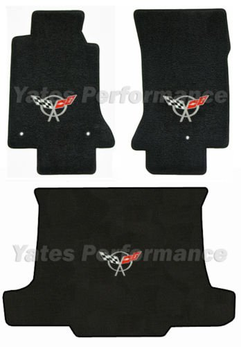 C5 Corvette Convertible Black 3pc Floor & Rear Cargo Mats - Crossed Flags Logo in Silver