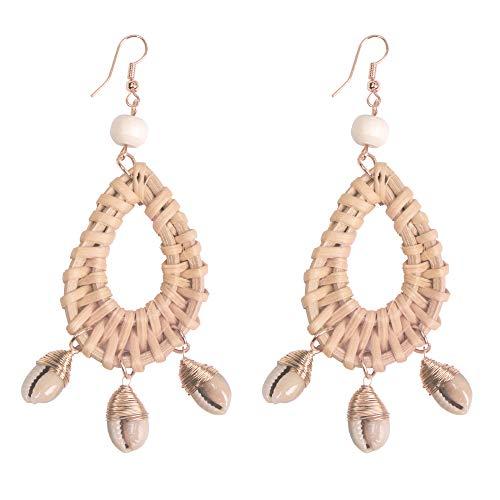 Oval Shell Earrings - Rattan Hoop Earrings for Women - Bohemian Wicker Earrings Oval - Handmake Lafite Braided Drop Dangle Earrings, Gift for Sister, Wife, Mother or Daily Wear (Bamboo Oval Earrings with Shell)