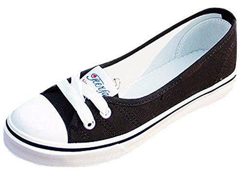 Minetom Damen Mädchen Mode Segeltuchschuhe Runde Zehe Flache Ferse Espadrilles Freizeit Loafer Schuhe Schwarz