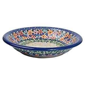 Traditional Polish Pottery, Handcrafted Ceramic Soup or Pasta Plate 22cm, Boleslawiec Style Pattern, T.201.Daisy
