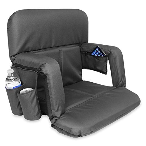 KHOMO GEAR Stadium Bleacher and Bench Seat Chair with Removable Pockets Padded Reclining Cushion and Armrest and Carry Straps - Black