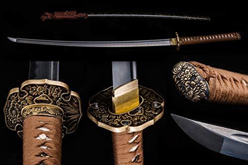 BOHIHYU Handforged Ninja Samurai Katana, Damascus steel/1095(T10) High Carbon Steel, Full Tang Blade, Sharp Knife, Real Battle Swords, Antique Copper Tsuba, Solid Wood Saya