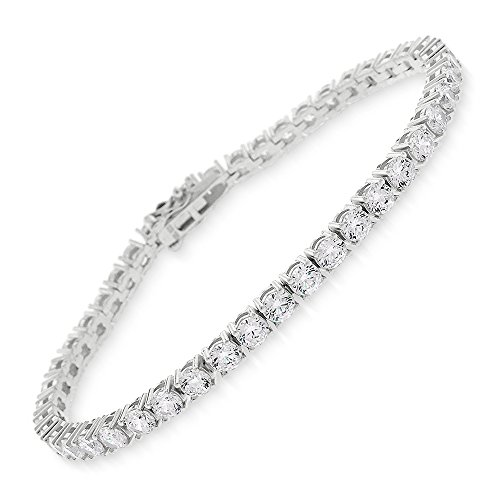 Sterling Silver 3.5mm Brilliant-Cut Clear Round CZ White Tennis Bracelet 6.5'', 7'', 8'' (8) by In Style Designz
