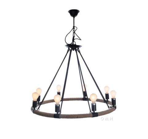 Eight Light Chandelier Modern (Old Modern Handicrafts Rope Pendant Lamp with 8 Bulbs)