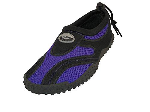 The Wave Childrens Kids Wave Water Shoes Pool Beach Aqua Socks, Purple, 2 M US Little Kid