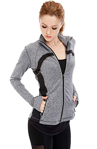 Absorbant Veste Jacket Femme Yoga Vêtement Gym Gris Icyzone® Sport Course wRaTxCCq