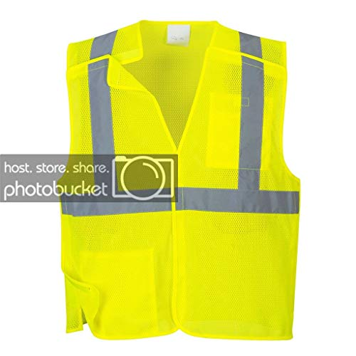 Brite Safety Economy Mesh 5 Point Break-Away Safety Vest - High Vis Vests with Reflective Tape, Lightweight and Breathable for Men and Women (Yellow,Medium)