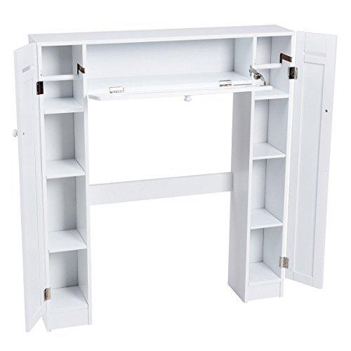 Over The Toilet Storage Cabinet Drop Door Spacesaver Bathroom Wooden White