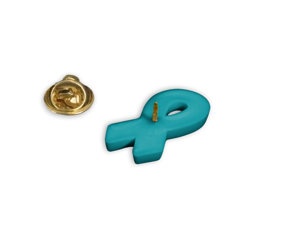 50 Pack Teal Ribbon Awareness Silicone Pins Wholesale Pack - 50 Pins