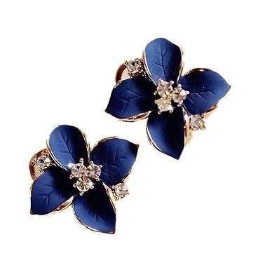 Top McKinley Gardenia Navy Blue Petals Four Diamond Earrings