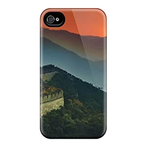 Iphone 4/4s Hard Back With Bumper Silicone Gel Tpu Case Cover The Great Wall Of China Stretches Across The Sunset