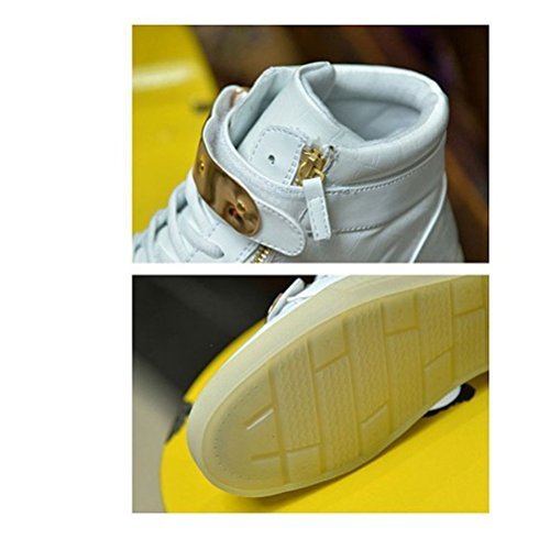 [Presente:pequeña toalla]JUNGLEST® 7 Colores USB Carga LED Luz Glow Luminosos Light Up Flashing Sneakers Zapatos Deportivos de Charol Alto-Top Blanco