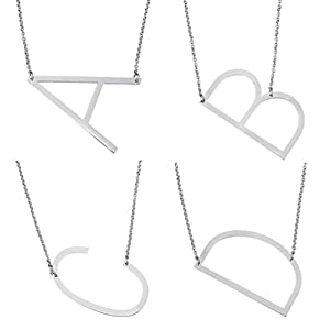 Rinhoo Sideways large Initial Necklace Silver Big Letter Script Name Stainless Steel Pendant Monogram Necklace for Women Gift(From Alphabet 26 A-Z)