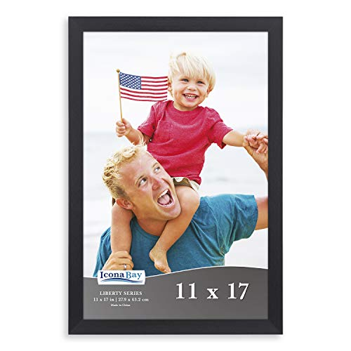 Icona Bay 11x17 Frame (1 Pack, Black), Sturdy Wood Composite Frame, Wall Hang Hardware Included, Liberty Collection ()