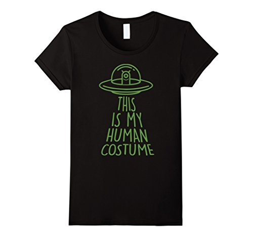 Womens Halloween Outer Space Alien Abduction Human Costume T-Shirt Small Black