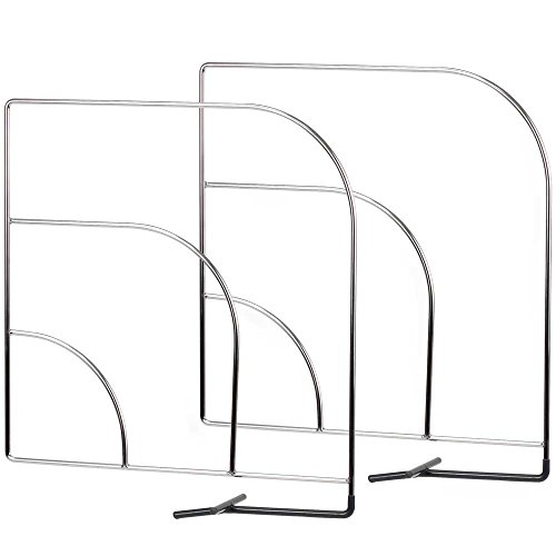 HomyDelight Shelf Dividers - Wire (Set of 2) 3 lbs 2'' 11.75'' 11.75'' Chrome by HomyDelight