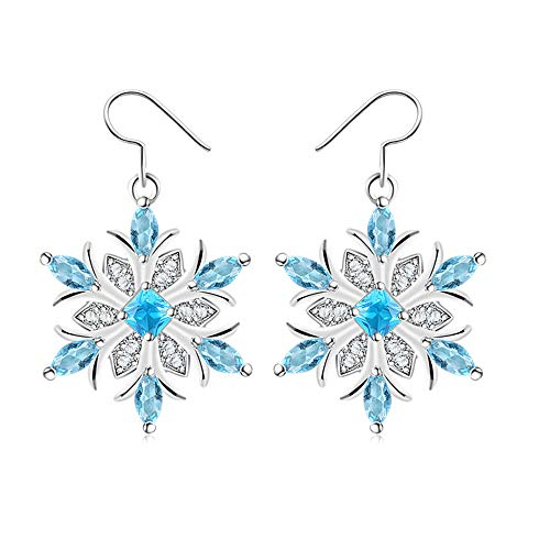 Garilina snowflake Blue cubic zirconia silver drop earrings female earrings wholesale Christmas Day Gifts E2248