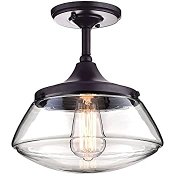 CLAXY Ecopower Vintage Metal & Glass Ceiling Light 1-lights Pendant Lighting Chandelier