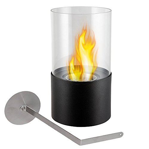 Wolfire CandleLight TableTop Protable Bio Ethanol Fireplace Stainless Steel Ventless Burner with Glass Guard Black