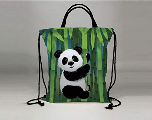 3D Print Drawstring Bag String Backpack,Cartoon,Curious Baby Panda on Stem of The Bamboo Bear Jungle Wood Illustration,Fern Green Black White,for Travel Gym School Beach -