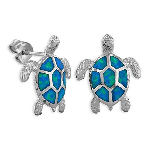 - Sterling Silver Synthetic Blue Opal Turtle Stud Earrings