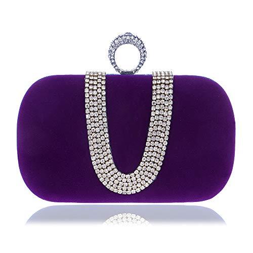 Banquete Moda Gscshoe Cadena En Bodas Portátil Noche Mujer De U Bolso color Embrague Diamantes Púrpura Forma Azul Con Para Incrustaciones 8r80ZqFx