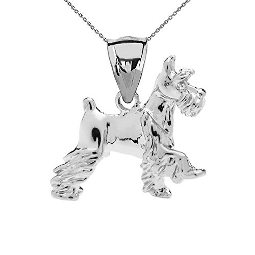 Solid 10k White Gold Schnauzer Charm Pendant Necklace with 16