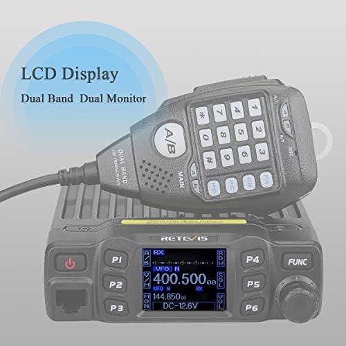 Retevis RT95 Doble Banda Mini Mobile Coche Radio Vehículo Transceptor 5W/15W/25W 200 Canales DTMF TFT LCD Display 180°Rotación con Función Escaneo y ...