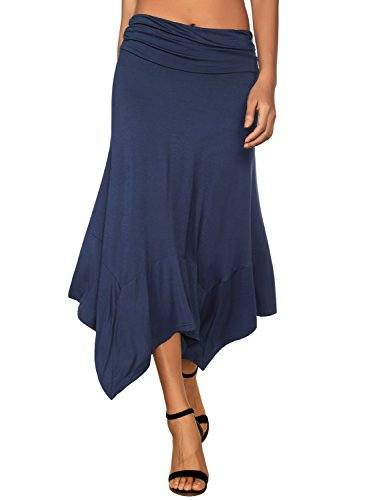 DJT Women's Flowy Handkerchief Hemline Midi Skirt Medium Navy