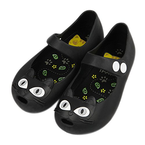 iFANS Girls Cat Princess Jelly Shoes Mary Jane Flats for Toddler Little Kids,Black,10.5 M US Little Kid / USA 11 / EU  29