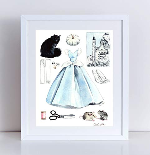 Cinderella Collage Giclee Art Print Watercolor Painting Wall Home Decor Disney World Princess Costume Party Glass Slippers Castle Pumpkin Girls Room Fairytale Storybook Nursery Gift ()