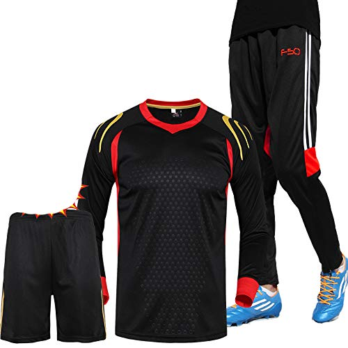 Shi18sport 3-In-1 Fußball (Trikot + Shorts + Hosen) Herbst Winter Langarm Fußball Trainingsanzug Trainingsanzug Fußball Jersey & Fußball Hosen