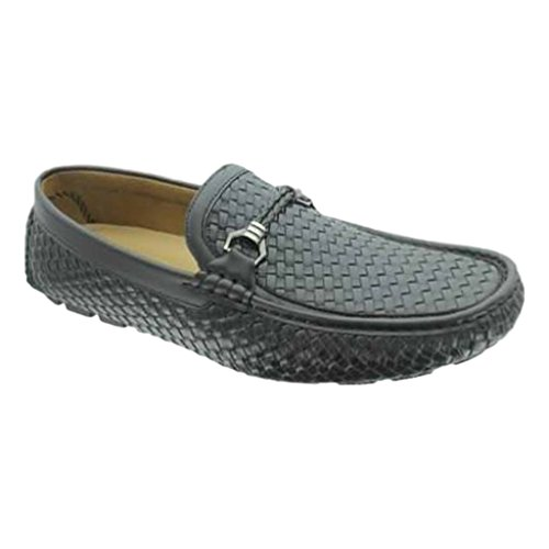Aldo Rossini Uomo Crissy-1 In Pelle Vegan Nabuk Impreziosito Da Mocassini Slip-on Mocassini Driving Shoes Neri