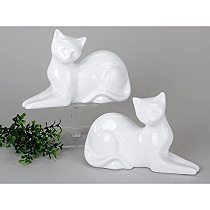 Juego de 2 figuras decorativas Gatos tumbado L. 25 cm H. 16,5
