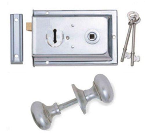 Satin Chrome Victorian Mushroom Rim Door Knobs & Rim Sash Lock Set EXCEL