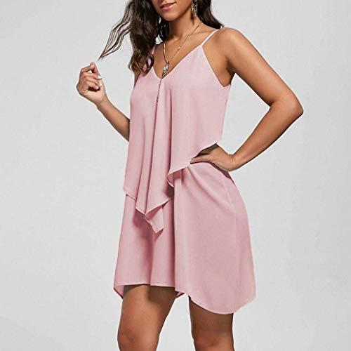 Basic Doppio Strato Vestiti Rosa Vestito Vestiti Puro Cerimonia Irregolare Mare Asimmetrica Estivi Orlo Ragazza Moda Sciolto Sleeveless V Neck Donna Mini Moda Abito Colore Estivi Vestiti Eleganti HTwdaEaq