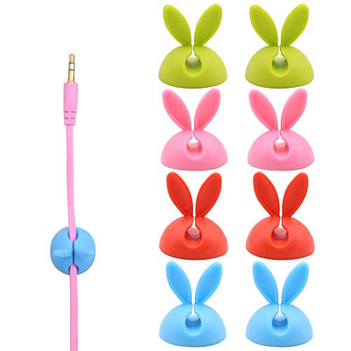 Rabbit Ears Multipurpose Cable Clips 16PCS Wall Desk Wire Clips Organizer for Computer, Cell Phones, Electrical, Charging or Mouse Cord