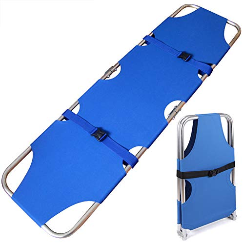 (XR Emergency Rescue Flat Foldaway Portable Stretcher with Two Steel Bars,for Hospital,Clinic, Home,Sports venues,Ambulance Weight Capacity 350 lb (Aluminum Alloy))