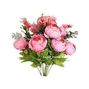 Sweet Home Deco 18'' Super Soft Blooming Peonies and Hydrangeas Silk Artificial Bouquet (13 Stems/6 Flower Heads) (Pink) 47