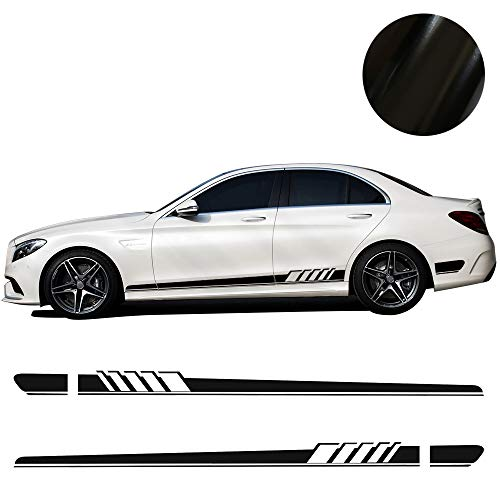 Charminghorse 5D Carbon Firbre/Gloss/Matte Black 2pcs - AMG Edition C63 Edition 1 Side Stripe Decals Stickers for Mercedes Benz C Class W205 C180 C200 C230 C280 C300 C320 C350 C63 -