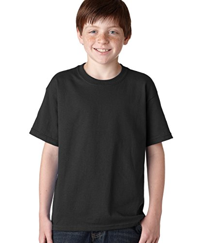 Gildan boys Heavy Cotton T-Shirt(G500B)-BLACK-L