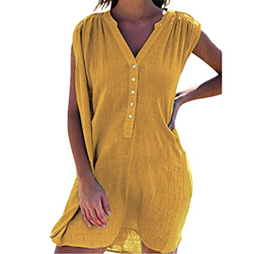 (⚡HebeTop⚡ Womens Cute V Neck Short Sleeve Buttion Down Loose Fit Ruffle Mini Dresses Yellow)