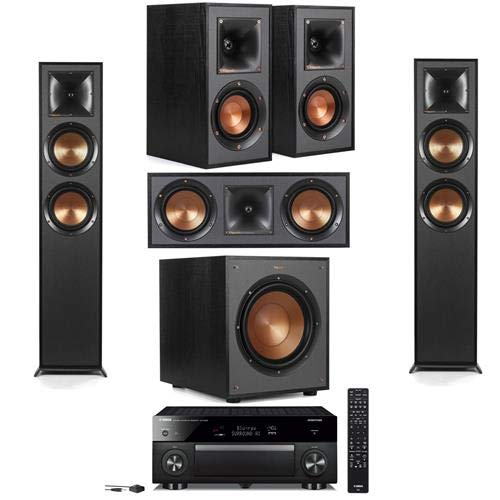 Klipsch 2 R-625FA Dolby Atmos Floor Standing Speaker - Bundle with R-41M Bookshelf Home Speakers, R-52C Center Channel Hhome Speaker, R-100SW 300W Subwoofer, Yamaha RX-A780 7.2-Channel AV Receiver