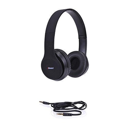 2BOOM Spin Master Over Ear Wired Foldable Headphone Stereo Hands Free Microphone Headset Black
